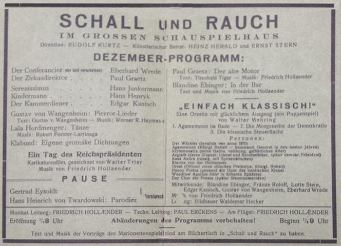 Programma dello spettacolo di dicembre 1919 del secondo Schall und Rauch.