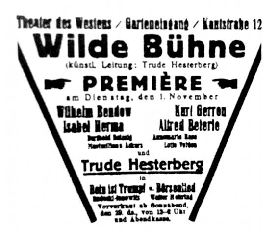 Inserzione pubblicitaria per uno spettacolo del Wilde Bühne nel 1921.
