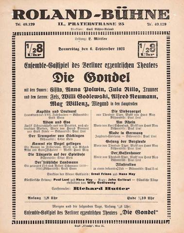 Locandina di uno spettacolo del cast del Die Gindel in trasferta al Roland-Bühne di Vienna