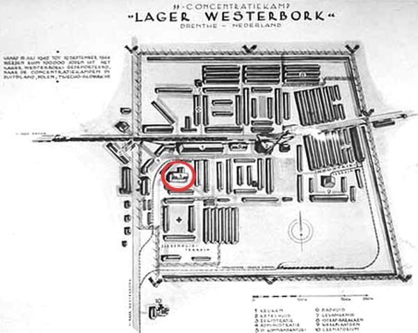 Mappa del Lager di Westerbork. Nel cerchio rosso, l'area del teatro.