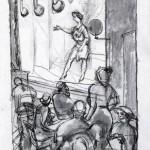 """George Grosz, """"Kabarettszene"""", 1913"""