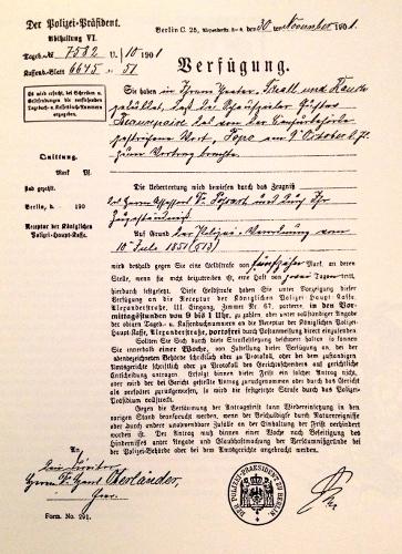 Il provvedimento che venne notificato allo Schall und Rauch il 30 novembre 1901.