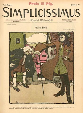 """L'uscita del 13 agosto 1901 della rivista satirica """"Simplicissimus"""" con, in copertina, una vignetta dedicata al personaggio di Serenissimus."""