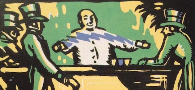 """Jerry Thomas prepara il suo celeberrimo Blue Blazer in un'illustrazione tratta dall'edizione 1930 di """"The Savoy Cocktail Book"""""""