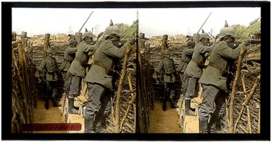 Stereogramma dei soldati dell'esercito imperiale in trincea (Dal sito www.ignomini.com)