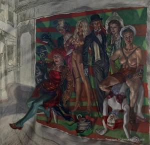 "Roxana Halls, ""Mali und Ingel's"", 2008, olio su lino"